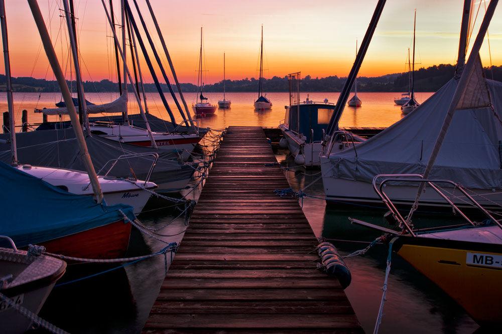 Bavorsko, jazero, Tegernseem prístav, lode, loďky, člny, hladina, voda, leto