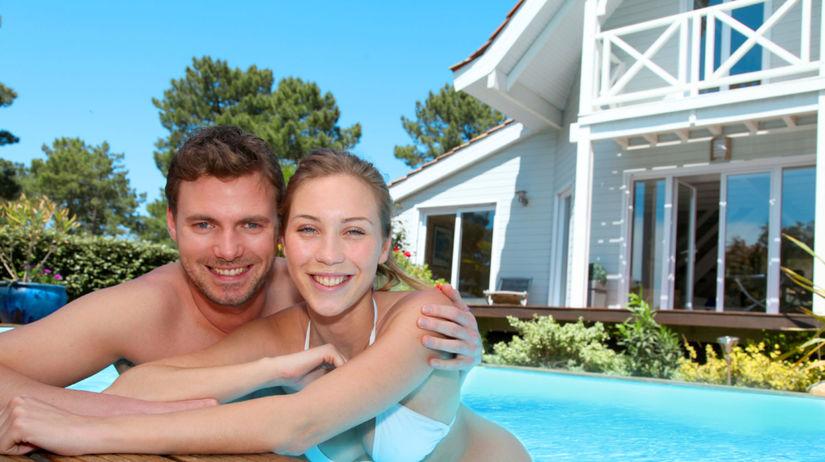 dovolenka, leto, bazén, dom, voda, kúpanie,...