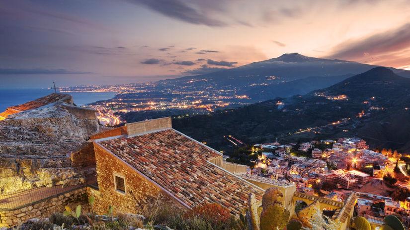 Sicília, Etna, sopka, Taormina, ostrov, večer,...