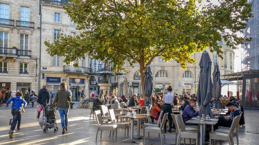 bordeaux, ľudia, mesto, kaviareň