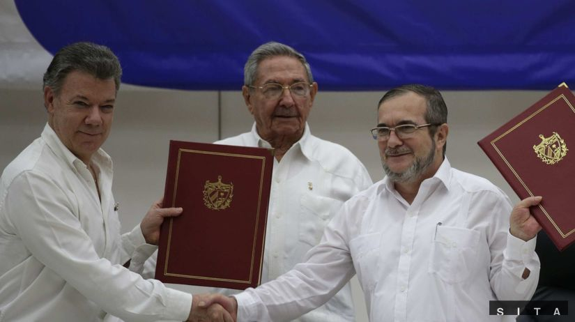 kuba, mier, Juan Manuel Santos, Raul Castro,...