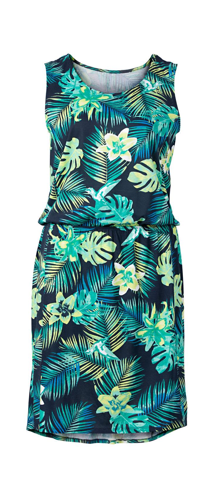 3596dc4e653d Dámske krátke šaty s odhalenými ramenami Zara Model šiat s tropickou  potlačou Takko Fashion - 19