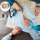 cestovanie, dovolenka, mapa, Taliansko, káva, lietadlo, letecká dovolenka, plánovanie, Európa, turisti