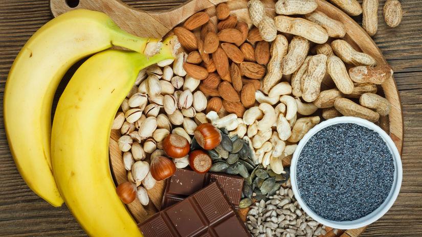 horčík, orechy, banán, mak, čokoláda,...