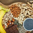 horčík, orechy, banán, mak, čokoláda, potraviny, zdravá strava