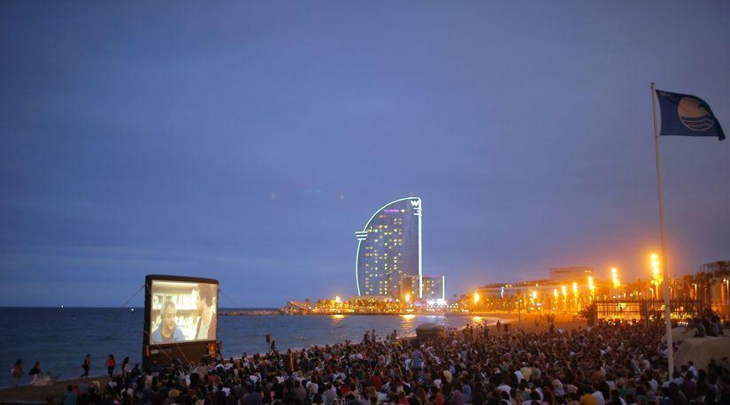 Španielsko, kino pod hviezdami, pláž, pláž San...