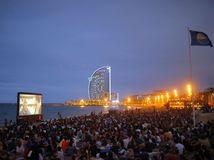 Španielsko, kino pod hviezdami, pláž, pláž San Sebastian, Barcelona