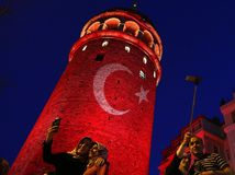 Turecko, veža, vlajka, selfie, veža Galata, Istanbul