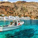 Kréta, dovolenka, leto, čln, loď, more, cestovanie, ostrov, plavba, pláž