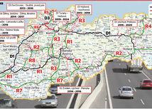 diaľničná mapa Slovenska, diaľnice, Slovensko, D1, D2, D3, D4, R2, R7, R3, R4, R8, R1, R5, R6