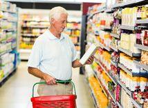 potraviny, obchod, nákup, nákupné centrum, dôchodca, nákupný košík