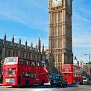 Big Ben, Londýn, Anglicko, červený autobus