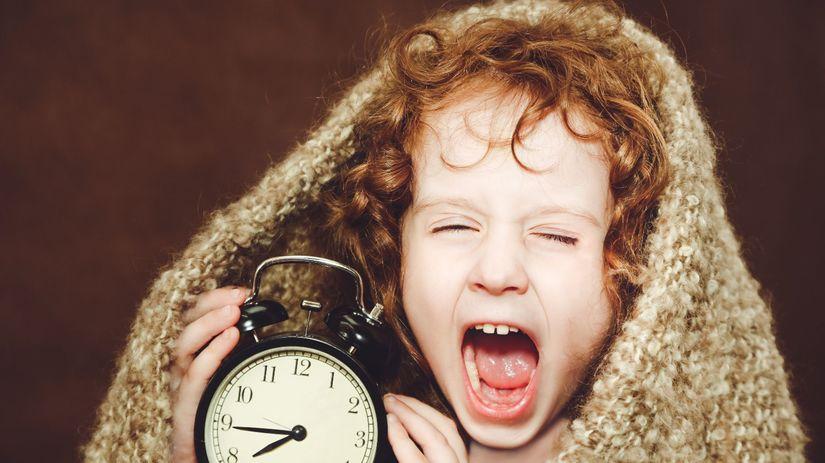spánok, čas, dieťa, budík
