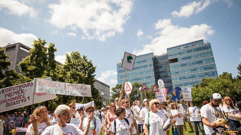 učitelia, štrajk, protest