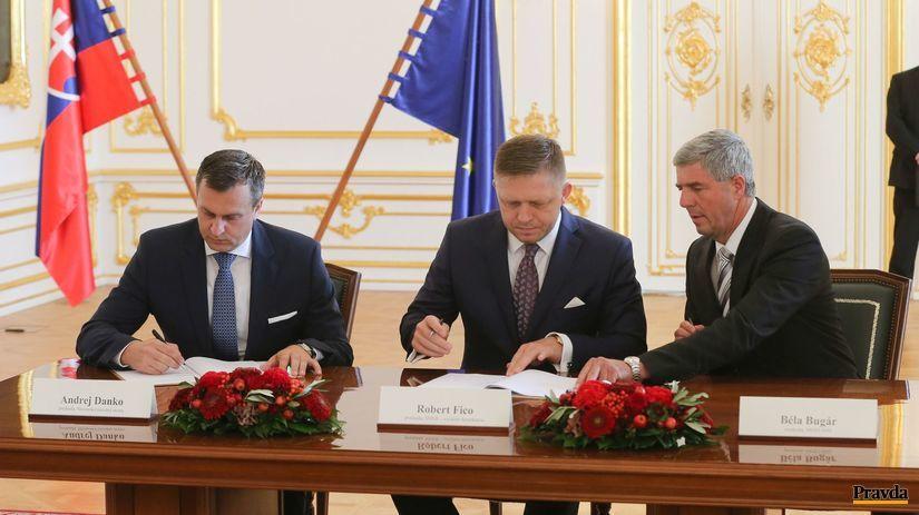 podpis koalicnej zmluvy, Danko, Fico, bugar