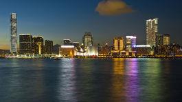 Hongkong, Kawloon, mesto, noc, odraz, more