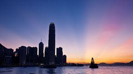 Hongkong, Kawloon, panoráma, mesto, noc, more