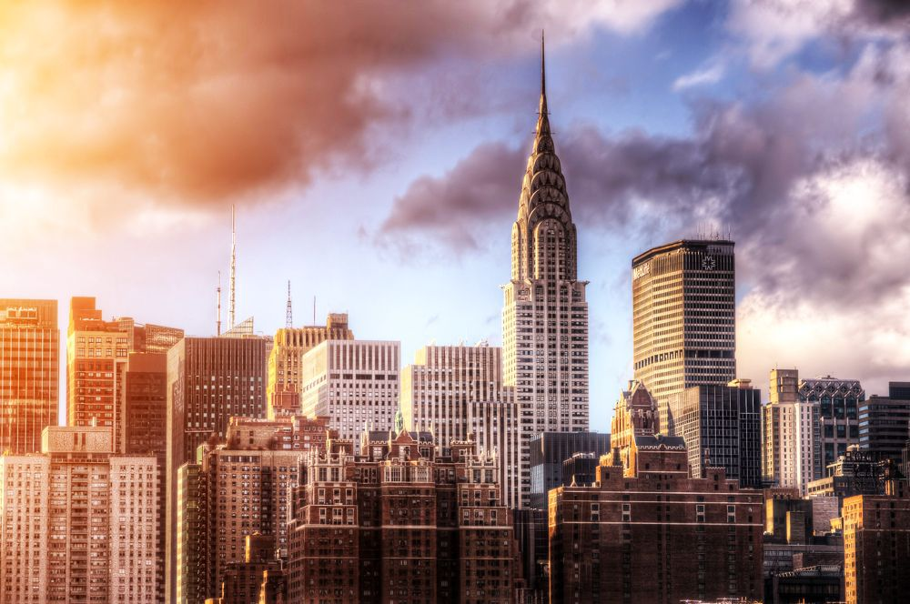 New York, Manhattan, Chrysler building, panoráma, mesto, mrakodrapy