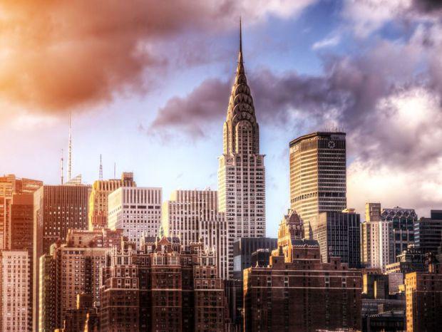 New York, Manhattan, Chrysler building, panoráma, mesto, mrakodrapy