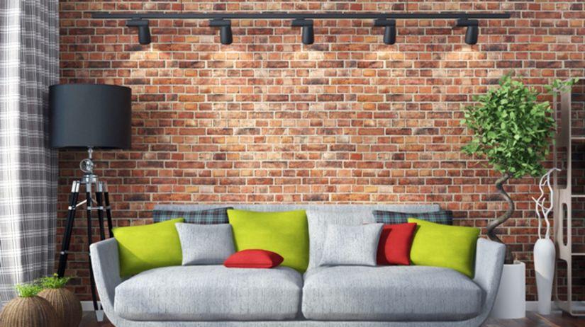 obývačka, izba, obklad, tehly, gauč, pohovka,...