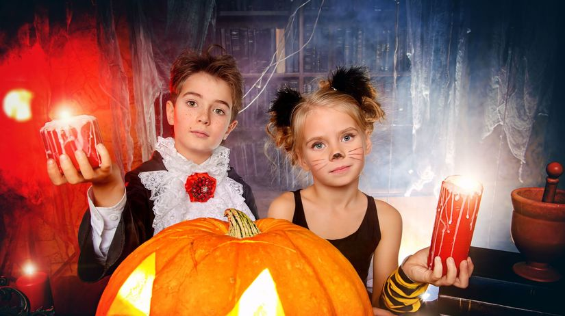 halloween, kostym, deti