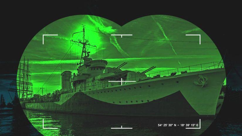 vojenská loď, armáda, námorníctvo, noc,...