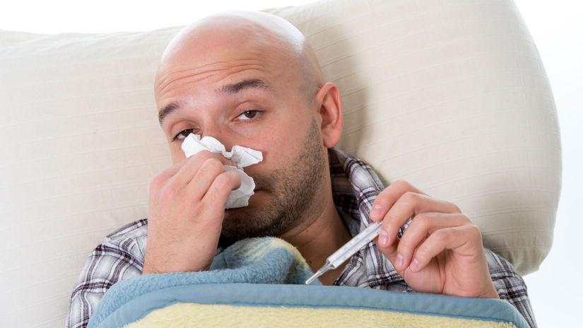 chlap, muž, chrípka, prechladnutie, nádcha,...