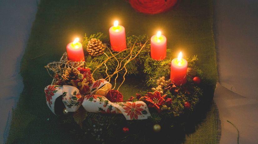 Advent, veniec, Vianoce, sviečky, plameň