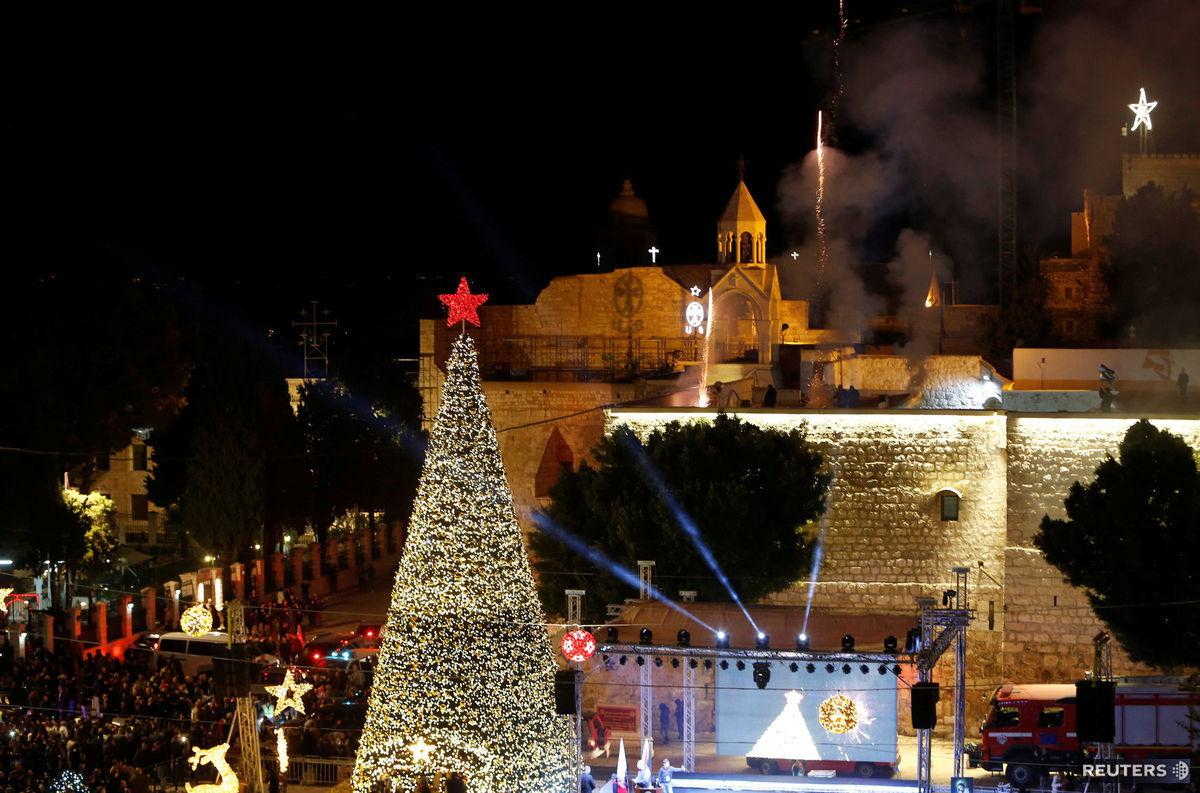 Betlehem, Palestína, Vianoce, vianočný strom, ohňostoj