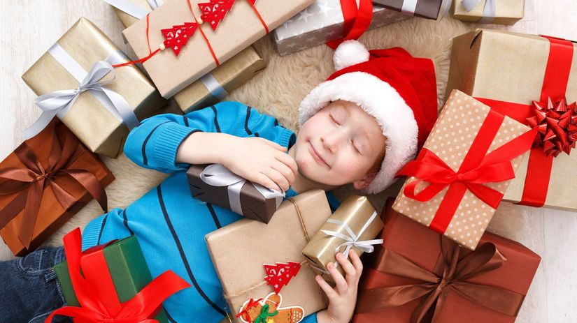 Vianoce, darčeky, dieťa