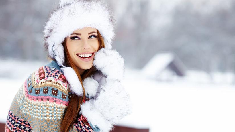 zima, chlad, žena, vločky, sneh, čiapka,...