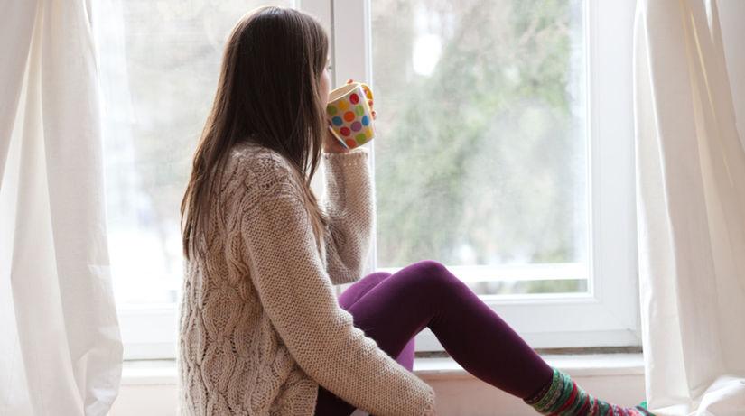 zima, žena, čokoláda, nápoj, izba