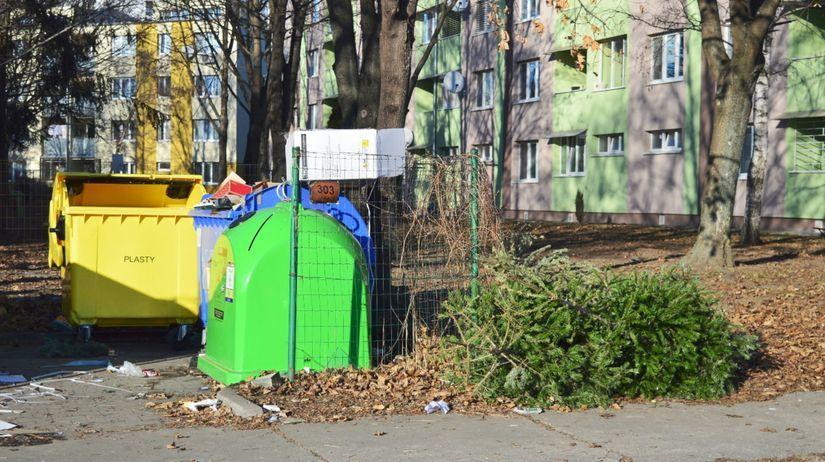 stromčeky, odpad, kontajner