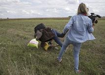 maďarsko, utečenci, kameramanka,