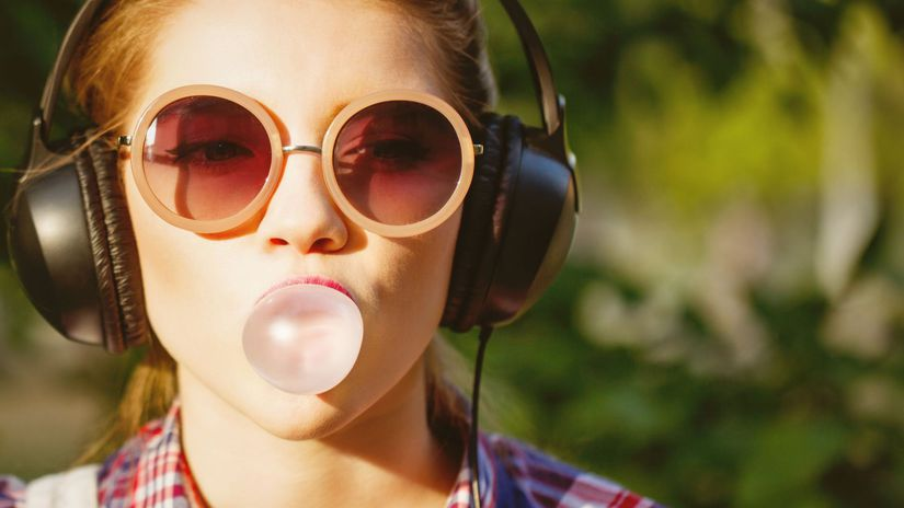 bublina, žuvačka, slúchadlá, hudba, slnečné...