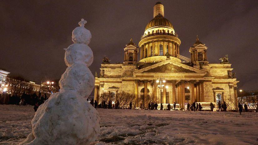 Rusko, chrám, pravoslávny, zima, sneh,...