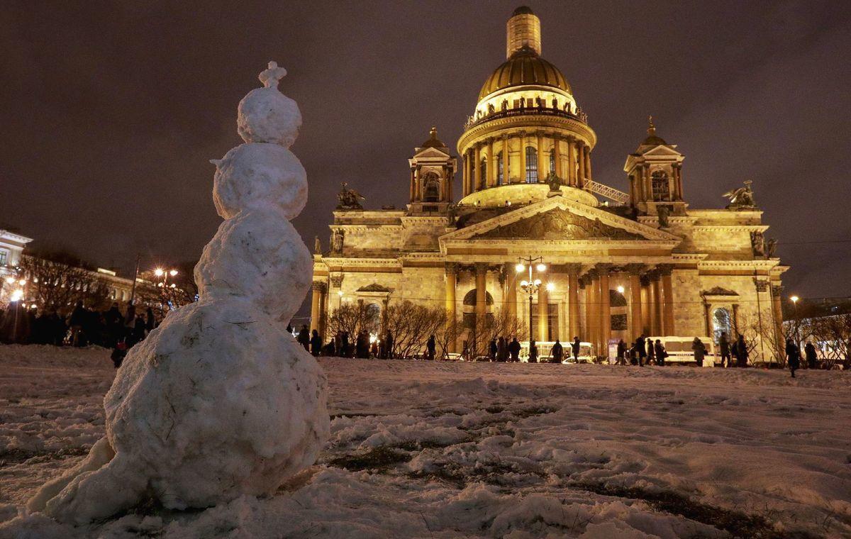 Rusko, chrám, pravoslávny, zima, sneh, snehuliak, Isaakijevský chrám, Chrámu sv. Izáka, Petrohrad