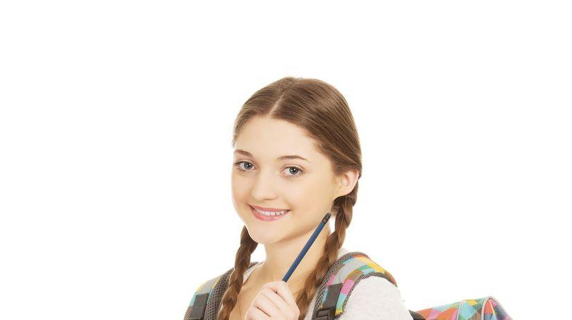 dievča, študentka, ruksak, stredná škola
