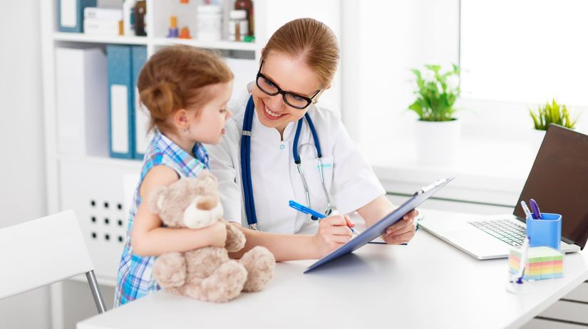 lekárka, ambulancia, pacientka, dieťa, lekár,...
