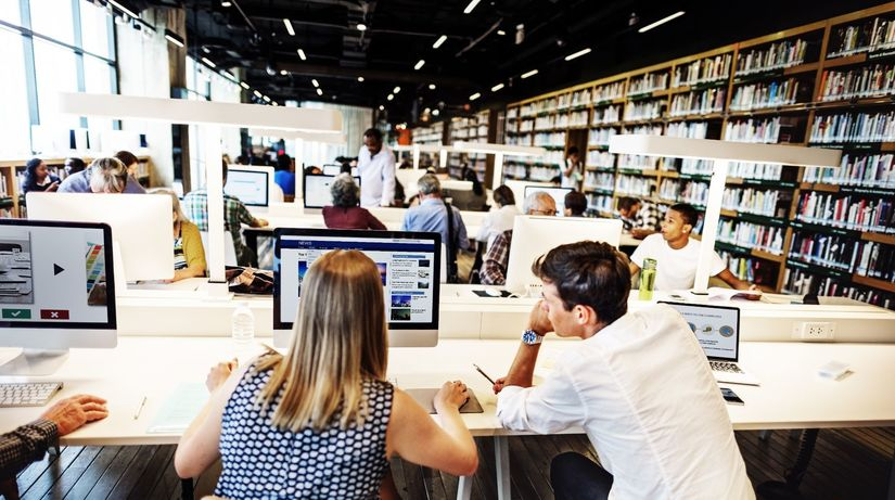 knižnica, štúdium, vysoká čkola, študenti, počítač