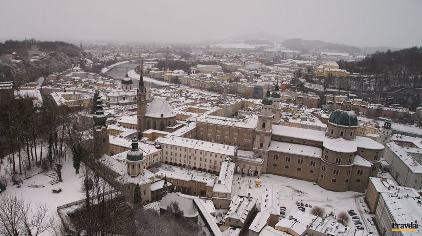 Salzburg, zima, sneh, mesto