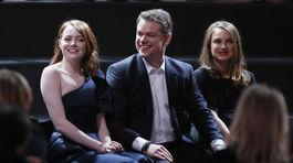 Emma Stone, herec Matt Damon a herečka Natalie Portman