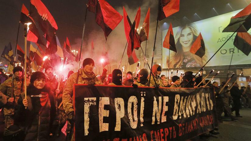 Ukrajina, protest, demonštrácia, Bandera,