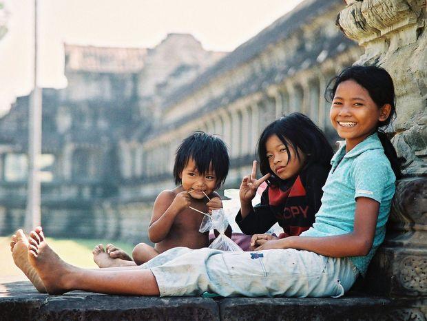 Kambodža, Angkor Wat, deti
