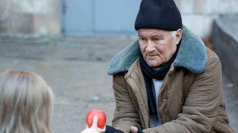 bankrot, bezdomovec, dievča, pomoc, jablko,...