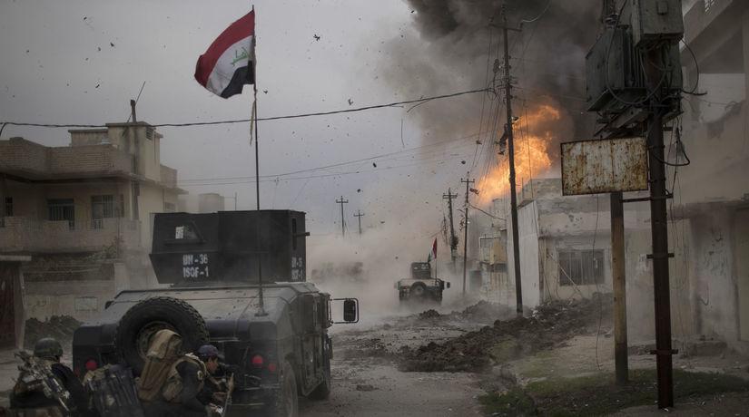 Irak, Mosul, boj, boje, vojaci, výbuch