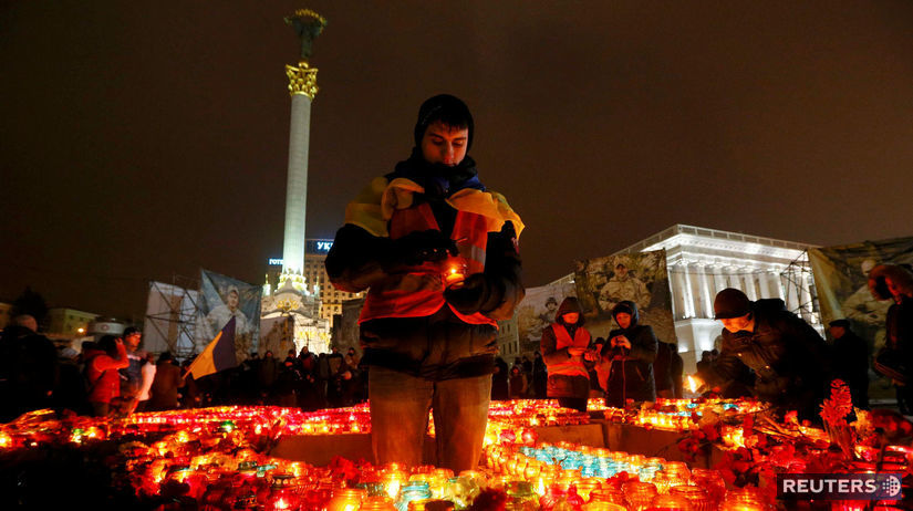 Majdan, Kyjev, sviečka, muž, výročie, spomienka