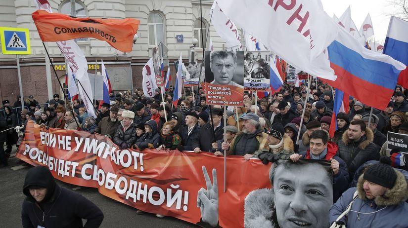 Boris Nemcov, zhromaždenie, Moskva, Rusko, Kremeľ