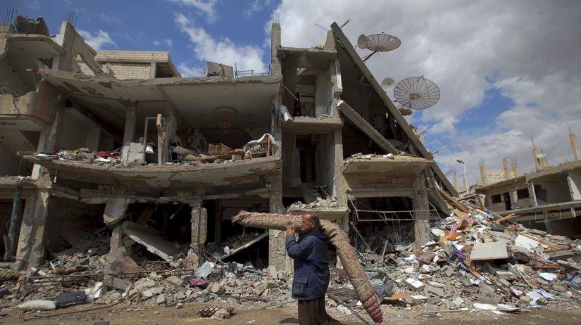 Sýria, Palmýra, budova, trosky, zničená budova