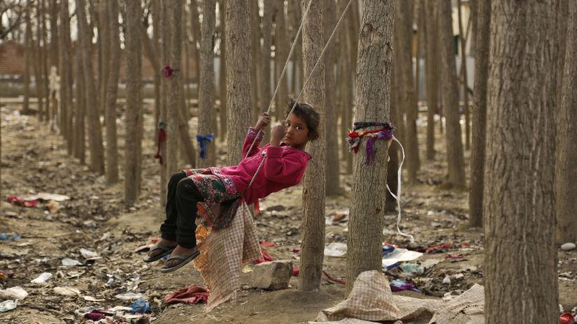 hojdačka, les, stromy, dieťa, Kašmír